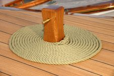Free Coiled Rope On Teak Deck Royalty Free Stock Image - 21314166
