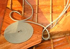Free Coiled Rope On A Classic Yacht Royalty Free Stock Photography - 21314217