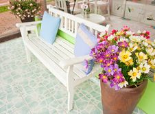 White Armchair At Balcony Stock Image