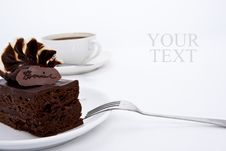 Brownie Cake With Luxury Cream Topping Stock Photo