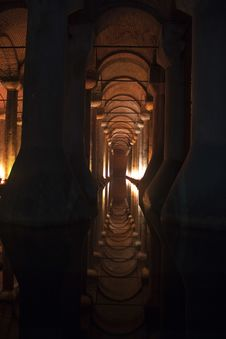 Basilica Cistern In Istanbul, Turkey Royalty Free Stock Photo