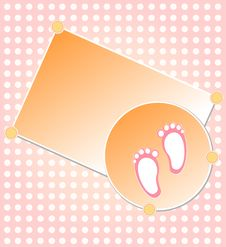 Baby Girl Arrival Announcement Card Royalty Free Stock Photo