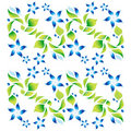 Free Ornament With Green Foliage And Blue Flowers 3 Stock Photos - 21322763