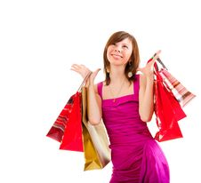 Free Happy Girl After Successful Shopping Royalty Free Stock Photo - 21320105