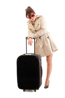 Free Woman In A Raincoat With A Suitcase Stock Images - 21320114
