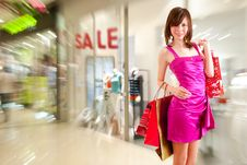 Free Happy Girl After Successful Shopping Royalty Free Stock Image - 21320116