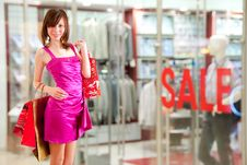 Free Happy Girl After Successful Shopping Stock Photos - 21320123