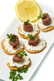 Free Canapes With Anchovy Stock Images - 21320244