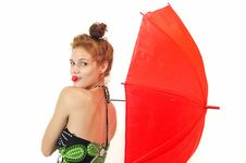 Free Pretty Girl With Umbrella And Strawberry Royalty Free Stock Photo - 21320595