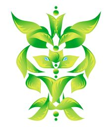 Element Of An Ornament With Green Foliage 1 Royalty Free Stock Photography