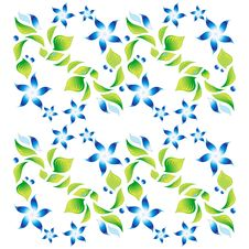 Ornament With Green Foliage And Blue Flowers 3 Stock Photos
