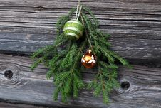 Christmas Tree Twig And Decorations Stock Photos