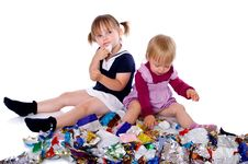 Free Two Little Girls In Candy Wrappers Royalty Free Stock Photography - 21324507