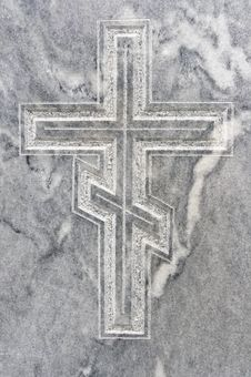 Free Closeup Of Orthodox Cross Carved In Gravestone Royalty Free Stock Image - 21325146