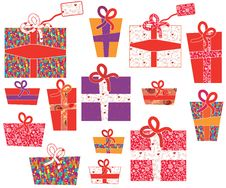Free Set Of Gifts With Pattern Stock Photos - 21328393