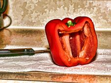 Free A Cup Red Pepper In A Kitchen Counter Stock Photo - 213272680