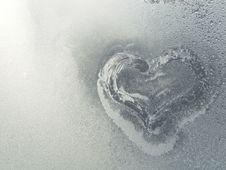 Frozen Heart In The Frosty Window Stock Image