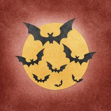 Halloween Bat And Moon Recycled Papercraft Stock Photos
