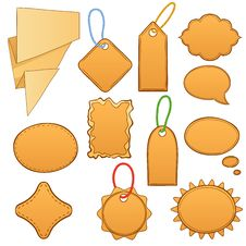 Free Set Cartoon Label Tags Isolated On White Royalty Free Stock Image - 21332396
