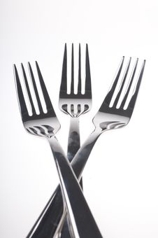Free Forks Over White Stock Images - 21332864