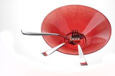 Free Forks On Red Plate Stock Image - 21332871