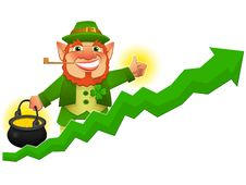Free Lucky Leprechaun With Business Prosperity Arrow Royalty Free Stock Photo - 21332975