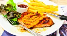 Free Pork Steak With Sauce Stock Photography - 21333812