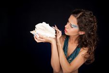 Free Beautiful Woman With Carly Dark Hair Royalty Free Stock Photo - 21338235