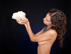 Free Beautiful Woman With Carly Dark Hair Royalty Free Stock Photo - 21338315
