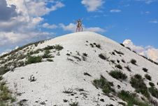 Two Girls On A Hilltop. Stock Images