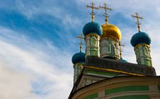 Orthodox Domes Of Russian Church And Cloud On Sky Stock Image