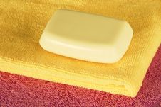 Free Soap Bar On Colorful Towels Royalty Free Stock Photos - 21339258