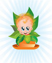Free Curly Kid In A Flower Pot Royalty Free Stock Images - 21346919