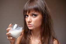 Free Girl Drinking Milk Stock Photos - 21355533