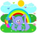 Free Rainbow  And Rabbit Royalty Free Stock Image - 21364696