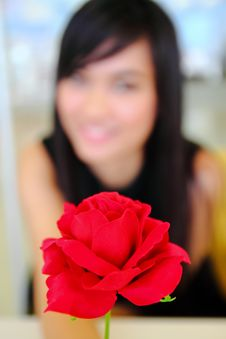 Free Rose In Woman Hand Royalty Free Stock Photos - 21362188