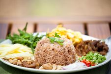Free Fry  Rice With The Shrimp Paste Royalty Free Stock Image - 21363636