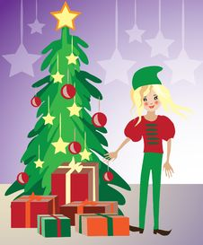 Free Christmas Elf Illustration Stock Photography - 21363712