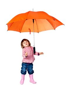 Free Little Girl With An Orange Umbrella In The Studio Stock Photography - 21364002