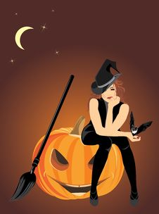 Free Sitting Witch On The Halloween Pumpkin Stock Image - 21364361