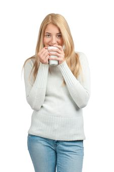 Free Woman With Cup Of Coffee Royalty Free Stock Photography - 21366877