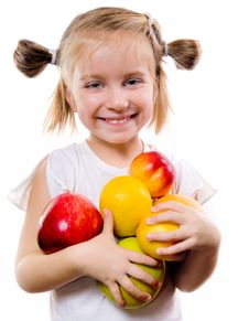 Free Cute Little Girl With Fruits Stock Photo - 21367880