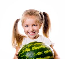 Free Little Girl Eating Big Piece Of Watermelon Royalty Free Stock Image - 21367946