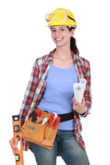 Free Portrait Of Female Carpenter Royalty Free Stock Photos - 21369988