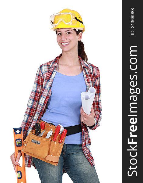 Portrait of female carpenter
