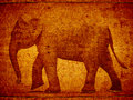 Free 3D Stamp Elephant On Wood Stock Photo - 21371950