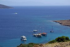 Yachts In The Aegean  Sea Royalty Free Stock Photo