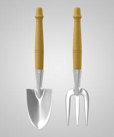 Free 3D Tools Chrome Rack & Trowel Royalty Free Stock Photo - 21374365