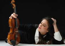 Free Pretty Girl With Violin Stock Image - 21375141