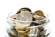 Coins In Jar Stock Image